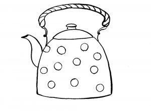 раскраска чайник для детей распечатать бесплатно