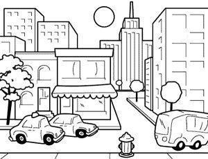 раскраска город для детей распечатать