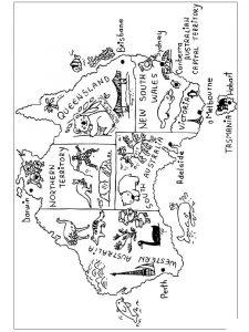 раскраска карта мира для детей распечатать