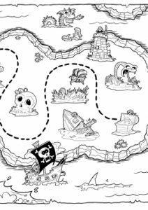 раскраска карта сокровищ для детей распечатать
