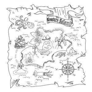раскраска карта сокровищ распечатать бесплатно
