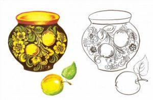 золотая хохлома картинки узоры раскраска для детей