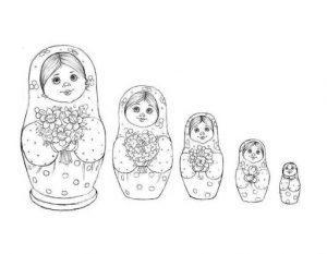 раскраска матрешка для детей распечатать