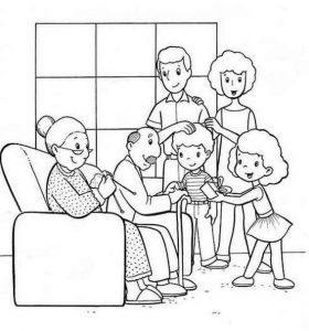 раскраска семья для детей распечатать