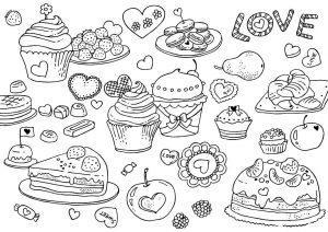 раскраска сладости распечатать бесплатно