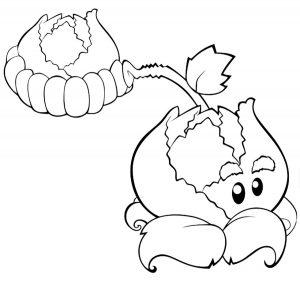 раскраска растения против зомби для детей распечатать