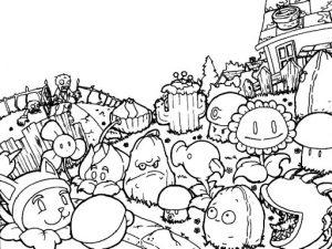 картинка зомби против растений раскраска