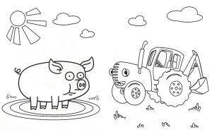 Раскраска синий трактор для детей
