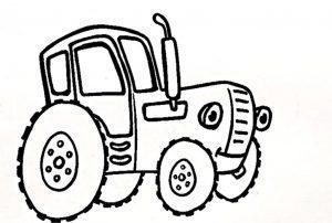 Раскраска синий трактор скачать