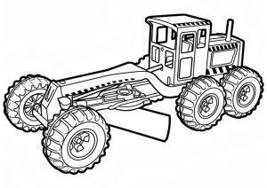 Раскраска для мальчиков трактор-грейдер