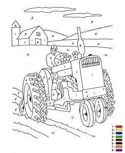 Трактор раскраска по цифрам