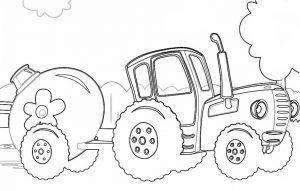 Раскраска Синий трактор с бочкой