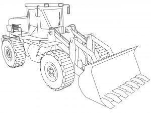 Раскраска трактор с ковшом спереди (Бульдозер)
