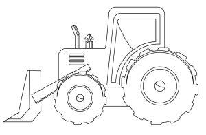 Раскраска трактор с ковшом
