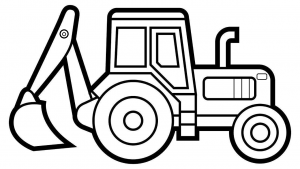 Раскраска трактор с ковшом сзади (Экскаватор)