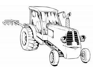 Раскраска трактор с плугом
