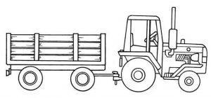 Раскраска трактор с прицепом