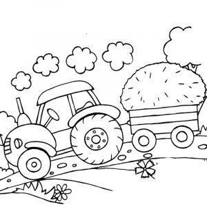 Раскраска трактор с телегой с сеном